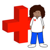 First aid worker with symbol — Stock Vector