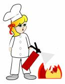 Chef putting out kitchen fire — Stock Vector