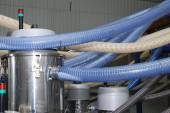 Part of industry mechanism (polyethylene pipes) — Stock Photo