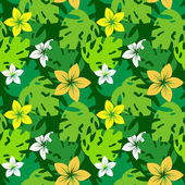 Frangipani with monstera leaves pattern — Stock Vector