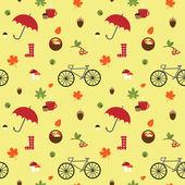 Autumn flat pattern with bike — Stockvektor