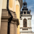 Lviv street with a church and corner of the house — Stock Photo #63457109