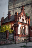 Old medieval red small house in Lviv — Stock Photo