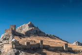 Genoese fortress in Crimea on a rock on the shore of the Black Sea — Stock Photo