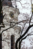 Clocks on the tower of Vilnius Cathedral Square at fall — Stock Photo