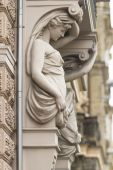 Caryatid on one of the buildings in Riga, Latvia — Stock fotografie