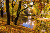 Park in the fall and pond in the center of Riga — Stock Photo