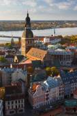 Top view of the city of Riga at sunset — Stock Photo