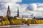 The high tower of the Dome Cathedral in Riga in autumn — Stock Photo