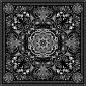Black and white ornamental square with paisley elements — Stock Vector