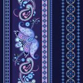 Striped seamless ethnic pattern. Paisley wallpaper — Vecteur
