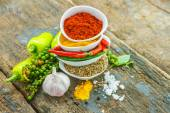 Mix spices main subject chilli seed on wood texture for decorate project. — Stock Photo