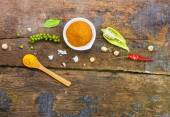 Mix spices main subject Cinnamon powder on wood texture for decorate project. — Stock Photo