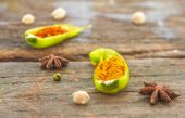 The turmeric powder on chilli for design or decorate project. — Stock Photo