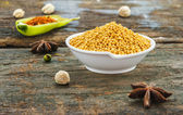 The mustard on wood texture for design or decorate project. — Stock Photo
