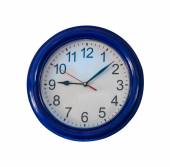 Office clock white and blue colour background. — Stock Photo