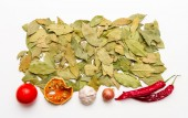 Bay leaves spices and herb on white background. — Stock Photo