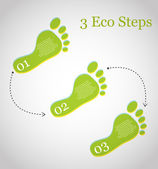 3 eco steps — Stock Vector