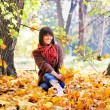 Woman rest on the nature, autumn outdoor. — Stock Photo #51875695