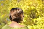Young woman wearing short bob hairstyle. — Stock Photo
