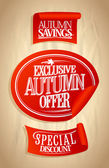 Autumn offer sale stickers set. — Stockvector