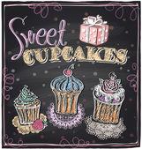 Sweet cupcakes chalkboard. — Stock Vector