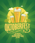 Oktoberfest design with beer and hope. — Vector de stock