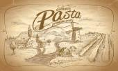 Autentic pasta label with rural landscape backdrop. — Διανυσματικό Αρχείο