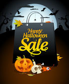 Halloween sale design with festive attributes. — Stock Vector