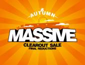 Massive autumn sale design with shopping bag. — Vector de stock