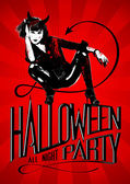 Halloween party with devil woman. — Stock Vector