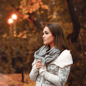 Young woman portrait autumn evening. — Stock Photo