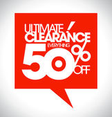 Ultimate clearance 50 percent off speech bubble. — Stok Vektör