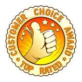 Kunden choice award emblem. — Stockvektor