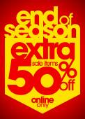 End of season extra 50 percent off. — Cтоковый вектор