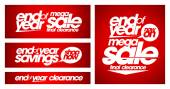 End of year mega sale banners. — Stock Vector