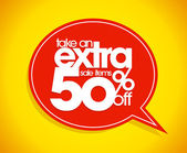 Take an extra 50 percent off speech bubble. — Stock Vector