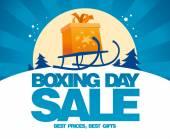 Boxing Day Verkauf design mit Schlitten. — Stockvektor
