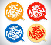 Mega savings bubbles set. — Stock Vector