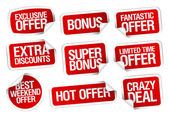 Hot super offer stickers set. — Stock Vector