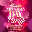 Valentine day party design with pink bokeh hearts. — Stock Vector #60230517