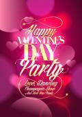 Valentine day party design with pink bokeh hearts. — Stock Vector