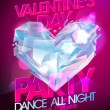 Valentine day party with diamond heart. — Vector de stock  #62460801