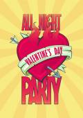 All night Valentine party design with burning heart. — Stock Vector