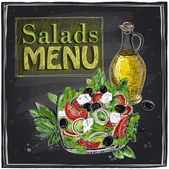Salads menu chalkboard  design. — Stock vektor