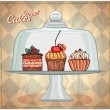 Set of cute cakes under glass dome. — Stock Vector #63371605