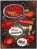 Chalkboard Valentine day party menu. — Stock Vector