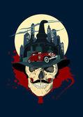 Men skull against night city, bootlegger design. — Stock Vector