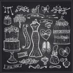 Chalkboard wedding bridal elements set. — Stock Vector #65885853