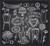 Chalkboard wedding banquet elements. — Stock Vector